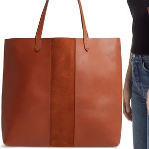 New Madewell Suede Stripe Leather Transport Tote